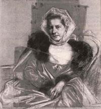 portrait de femme assise [med: w/ craie blanche, pastel by marcel andre baschet
